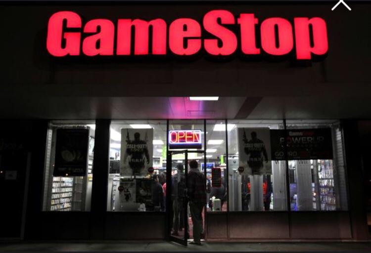 GameStop  customers inside Wall Street shop